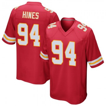 Youth Kansas City Chiefs D'Juan Hines Red Game Team Color Jersey By Nike